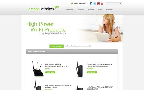 Screenshot of Products Page ampedwireless.com - Amped Wireless - The Leader in High Power, Long Range Wireless Solutions - captured Sept. 23, 2014