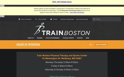 Screenshot of Hours Page trainboston.com - Hours of Operation | Wellesley - captured Dec. 20, 2016