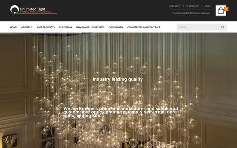Screenshot of Home Page unlimitedlight.com - Unlimited Light � Fibre optic and LED lighting products for home or commercial use | Fibre Optics for DIY - captured Dec. 12, 2015