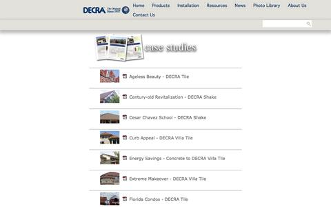 Screenshot of Case Studies Page decra.com - Case Studies - captured Feb. 8, 2016