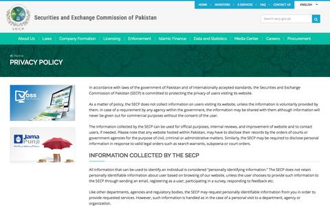 Screenshot of Privacy Page secp.gov.pk - Privacy Policy | SECP - captured May 25, 2017