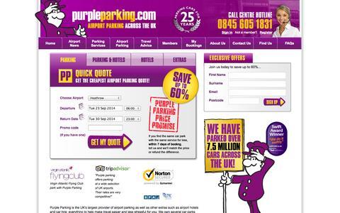 Screenshot of Home Page purpleparking.com - Cheap Airport Parking Including Heathrow & Manchester - Purple Parking - captured Sept. 23, 2014