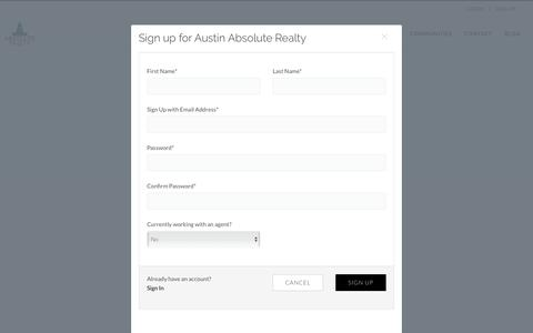 Screenshot of Signup Page austinabsoluterealty.com - SIGN UP on Austin Absolute Realty - captured July 10, 2018