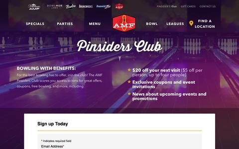 Screenshot of Signup Page amf.com - Pinsiders Loyalty Club | The AMF Bowling Co. - captured Feb. 4, 2016