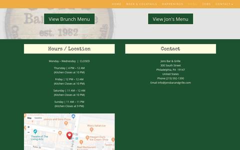 Screenshot of Menu Page jonsbarandgrille.com - View Jon's Menu | Jon's Bar & Grille - captured Oct. 14, 2018