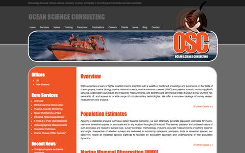 Screenshot of Services Page osc.co.uk - Marine Scientists specialising in Passive Acoustic Monitoring and Marine Mammal Observation - captured Oct. 27, 2014