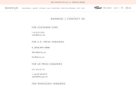 Screenshot of Contact Page dannijo.com - DANNIJO l Contact Us – Dannijo - captured Feb. 20, 2020