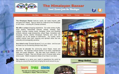 Screenshot of Home Page thehimalayanbazaar.com - The Himalayan Bazaar, Fair Trade gift shop downtown Ann Arbor, Mi - captured Oct. 7, 2014