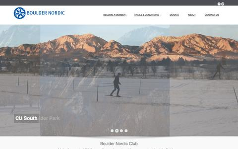Screenshot of Home Page bouldernordic.org - Boulder Nordic Club | A 501c3 non-profit supporting and providing cross-country skiing in and around Boulder - captured Oct. 5, 2014