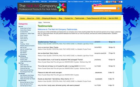 Screenshot of Testimonials Page thenailartcompany.co.uk - Customer Testimonials - captured Nov. 5, 2014