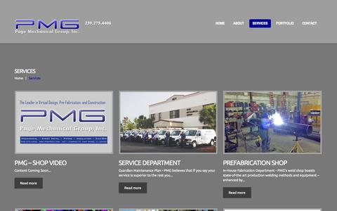 Screenshot of Services Page pagemech.com - Services  |  PMG - captured Oct. 1, 2014