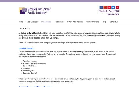 Screenshot of Services Page smilesbypayet.com - Charles Payet, DDS – Charlotte Family Dentistry Services - Charles Payet, DDS - Charlotte Family Dentistry - captured Oct. 2, 2014