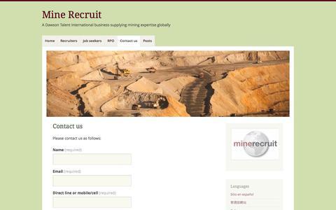 Screenshot of Contact Page mine-recruit.com - Contact us | Mine Recruit - captured Oct. 27, 2014
