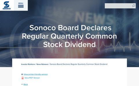 Screenshot of Press Page sonoco.com - Sonoco Board Declares Regular Quarterly Common Stock Dividend | Sonoco - captured Nov. 5, 2019
