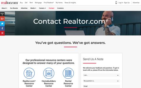 Screenshot of Contact Page realtor.com - Contact Realtor.com® - realtor.com® - captured Oct. 24, 2018