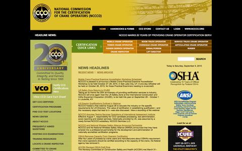 Screenshot of Home Page nccco.org - National Commission For The Certification of Crane Operators - NCCCO - captured Sept. 5, 2015