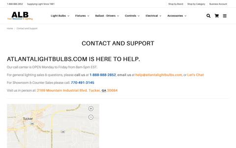 Screenshot of Contact Page atlantalightbulbs.com - Contact Atlanta Light Bulbs - captured Oct. 15, 2019