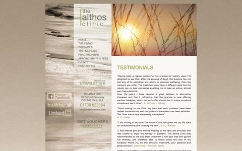 Screenshot of Testimonials Page thealthosclinic.com - The Althos Clinic - Testimonials - captured Oct. 7, 2014
