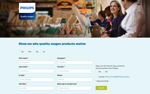 Screenshot of Landing Page philips.com - Show me why quality oxygen products matter   Philips - captured Dec. 31, 2016