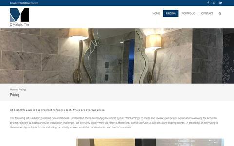 Screenshot of Pricing Page tilecm.com - Pricing – C. Malagisi Tile - captured Sept. 25, 2018