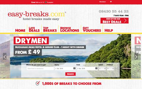 Screenshot of Home Page easy-breaks.com - UK Short Breaks Late Deals Hotel Deals and Offers | easy-breaks.com - captured Sept. 30, 2018