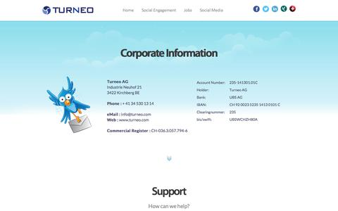 Screenshot of Support Page turneo.com - Turneo AG - Delivering exciting, inspiring and mindful software solutions for young and old - captured Oct. 7, 2014