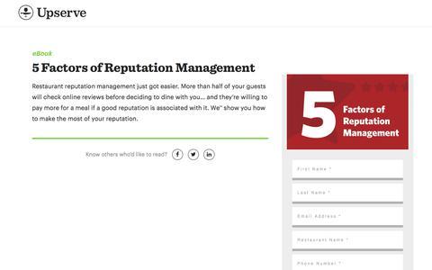 Screenshot of Landing Page upserve.com - Restaurant Reputation Management Guide | Upserve - captured Aug. 31, 2017