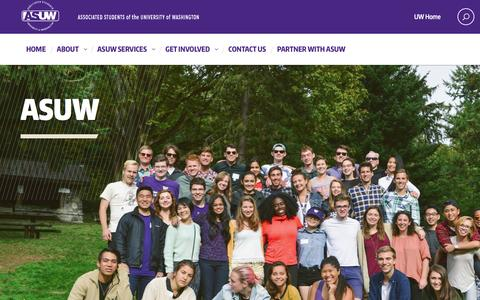 Screenshot of Home Page asuw.org - ASUW :: Associated Students of the University of Washington - captured Feb. 5, 2016
