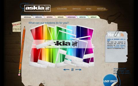 Screenshot of Home Page askia.com - Askia - software for surveys - captured Sept. 22, 2014