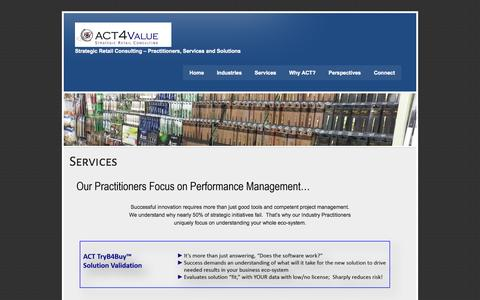 Screenshot of Services Page act4value.com - Services | ACT4Value - captured Oct. 4, 2014