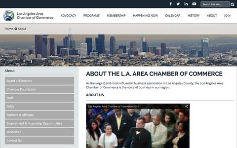 Screenshot of About Page lachamber.com - Los Angeles Area Chamber of Commerce - about_aboutchamber - captured Feb. 1, 2016