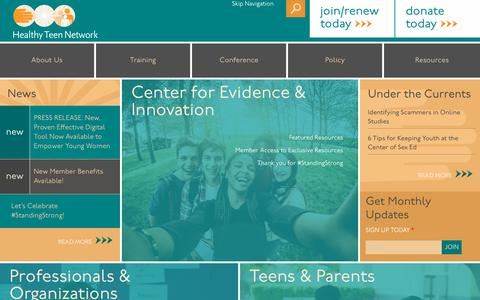 Screenshot of Home Page healthyteennetwork.org - Home   Healthy Teen Network - captured July 17, 2018