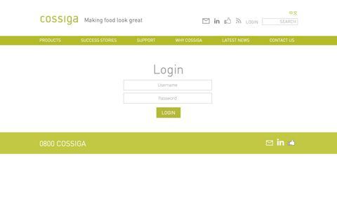 Screenshot of Login Page cossiga.com - Login | Cossiga - captured Sept. 29, 2018