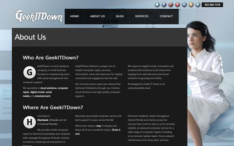 Screenshot of About Page geekitdown.com - About Us | GeekITDown - captured Sept. 22, 2014