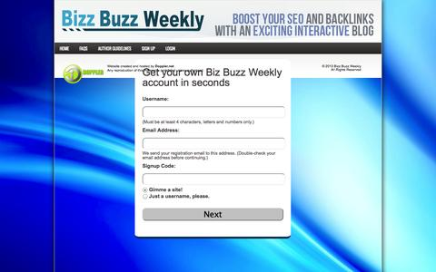 Screenshot of Signup Page bizbuzzweekly.com - Biz Buzz Weekly | Social Networking │ Fast Facts │ Tips & Tricks │ For Busy Professionals - captured Sept. 30, 2014