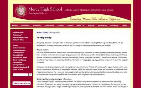Screenshot of Privacy Page mhsmi.org - Privacy Policy | Mercy High School - captured March 8, 2018