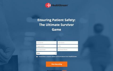 Screenshot of Landing Page healthstream.com - Webinar - Ensuring Patient Safety: The Ultimate Survivor Game - captured Sept. 19, 2018