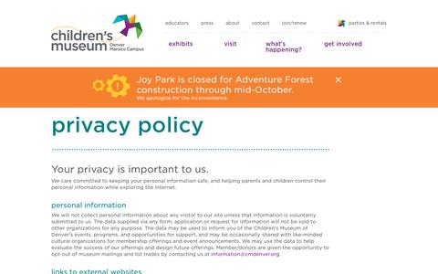 Screenshot of Privacy Page mychildsmuseum.org - Privacy Policy   Children's Museum of Denver - captured Sept. 27, 2018