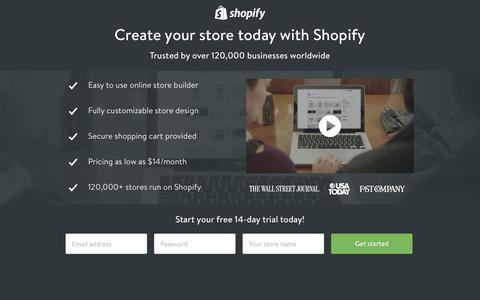 Screenshot of Landing Page shopify.com - Create your online store today with Shopify - captured Oct. 27, 2014