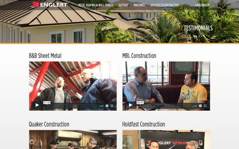 Screenshot of Testimonials Page englertinc.com - Testimonials - captured July 19, 2018