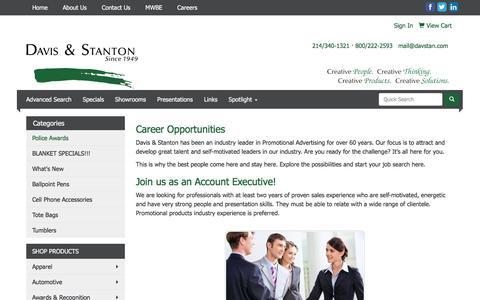 Screenshot of Jobs Page davstan.com - Davis & Stanton -  Promotional Products - Garland, TX & Bellevue, WA - Careers - captured Feb. 8, 2016