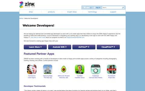 Screenshot of Developers Page zink.com - Welcome Developers! | ZINK® - captured Sept. 17, 2014
