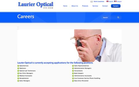 Screenshot of Jobs Page laurier-optical.com - Careers with Laurier Optical - captured Oct. 28, 2014