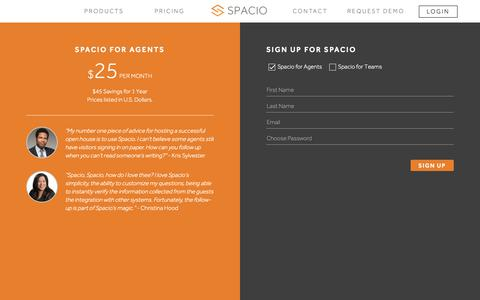Screenshot of Signup Page spac.io - Spacio: Introducing the Paperless Open House - captured Oct. 19, 2018