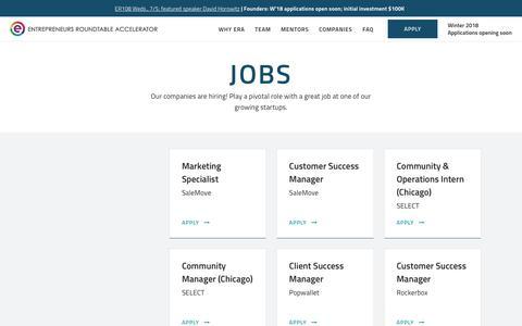 Screenshot of Jobs Page eranyc.com - Jobs - Entrepreneurs Roundtable Accelerator - captured June 26, 2017