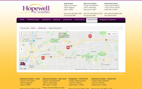 Screenshot of Maps & Directions Page hopewellschools.com - Maps & Directions - captured Oct. 6, 2018