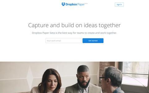 Screenshot of Landing Page dropbox.com - Dropbox - Paper - captured Aug. 19, 2016