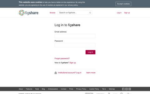 Screenshot of Login Page figshare.com - figshare - captured Jan. 9, 2020