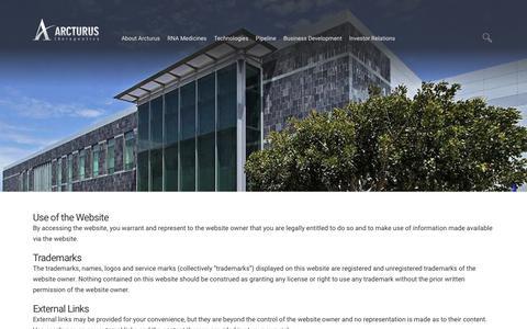 Screenshot of Terms Page arcturusrx.com - Legal | Arcturus Therapeutics - captured Oct. 4, 2018
