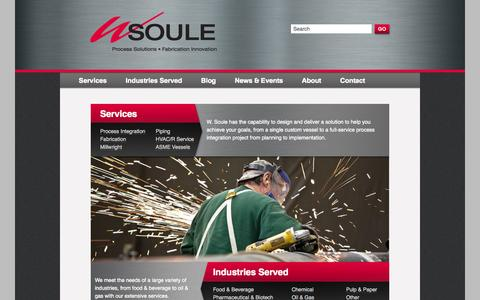Screenshot of Home Page wsoule.com - Process Integration - Fabrication Innovation for 65+ Years | WSoule - captured Sept. 30, 2014